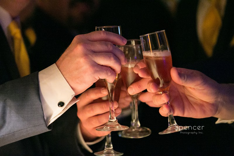 wedding day toast of champagne at wedding reception at St. Clair Ballroom Cleveland