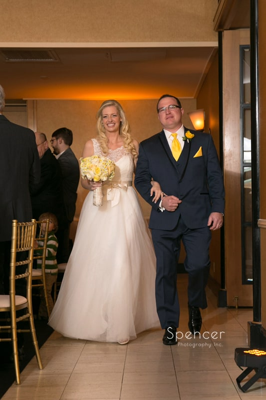 bride and groom enter their wedding reception at St. Clair Ballroom Cleveland