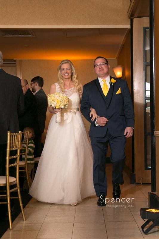 bride and groom enter their wedding reception at St. Clair Ballroom Cleveland