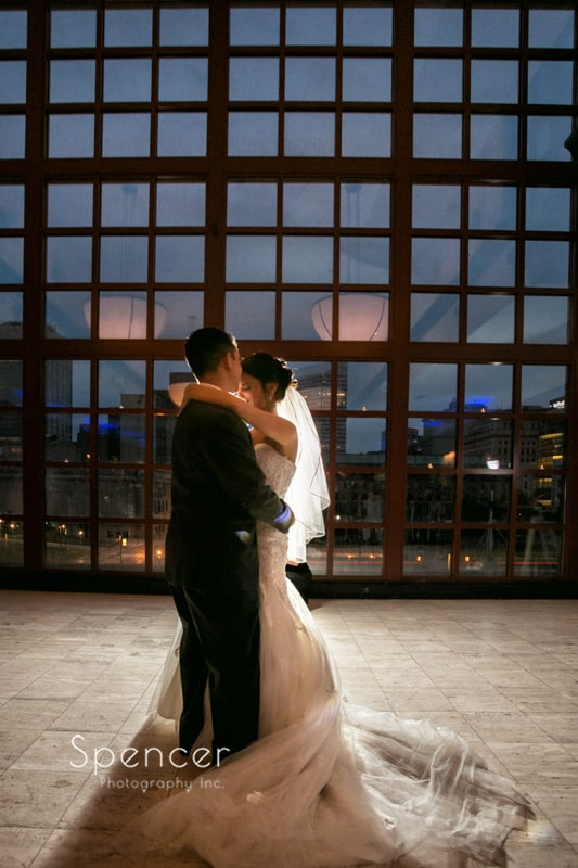 first dance at wedding reception at st. clair ballroom