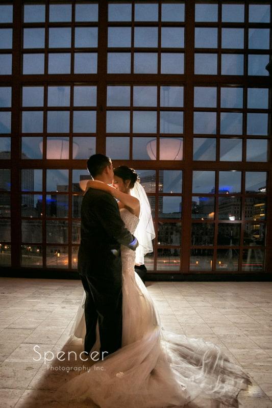 first dance at wedding reception at st. clair ballroom