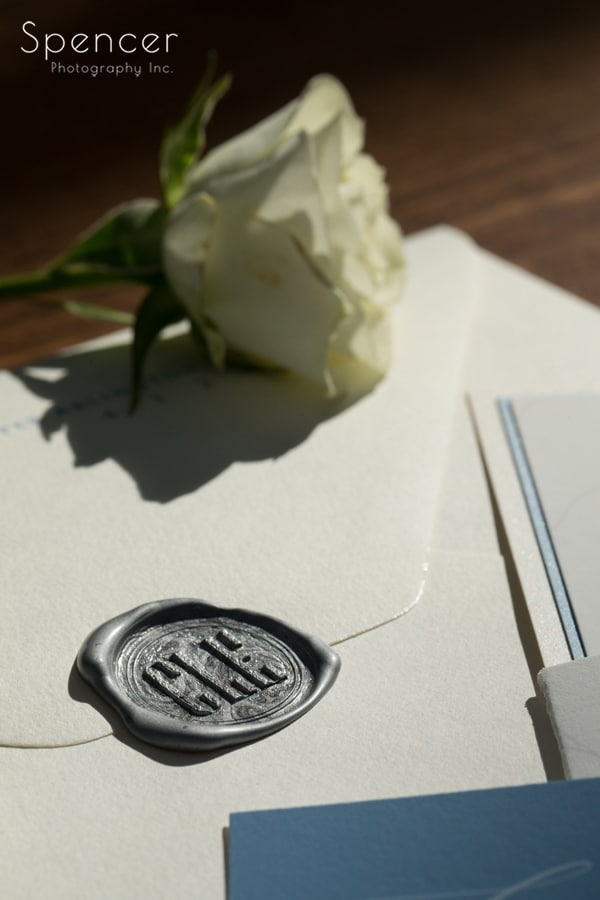 wax stamp wedding invitation with rose
