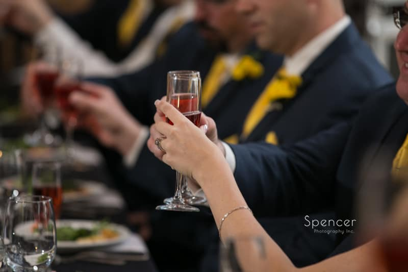bride and groom toast to their wedding day at St. Clair Ballroom Cleveland