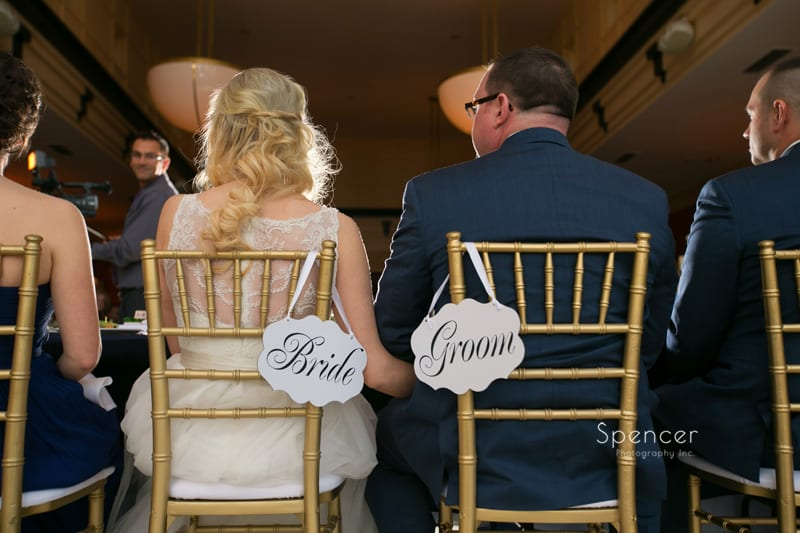 bride and groom chairs at wedding reception at St. Clair Ballroom Cleveland