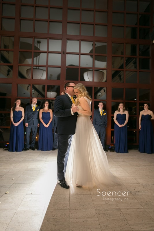 first dance at St. Clair Ballroom Cleveland wedding reception