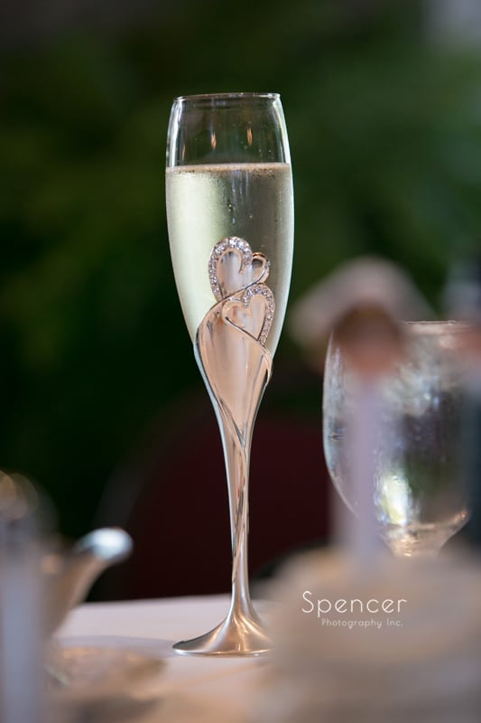 picture of champagne glass at wedding reception at 100th Bomb Group