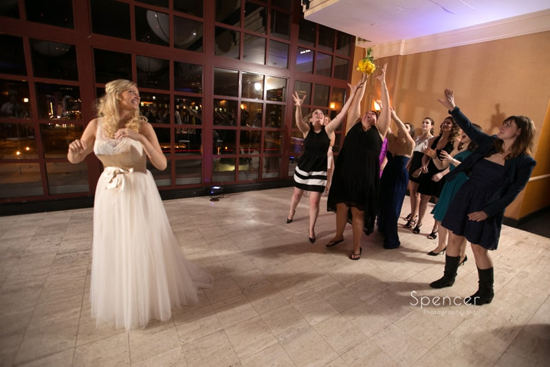 bouquet being caught at St. Clair Ballroom Cleveland