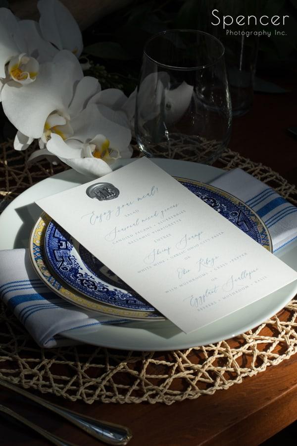 dramatic wedding reception table setting at Cleveland Madison