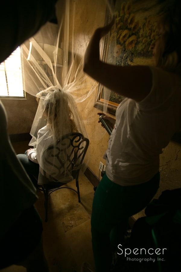 fluffing the veil at Gervasi Vineyard wedding