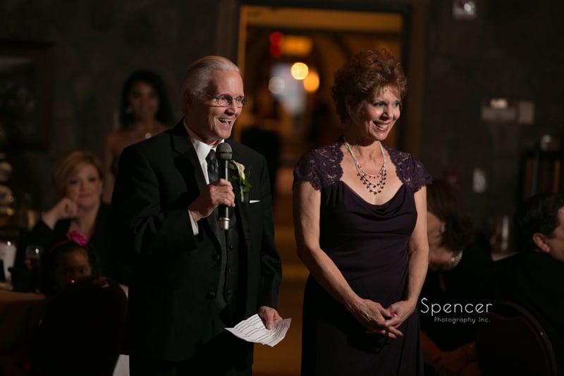 brides parents give wedding reception speech