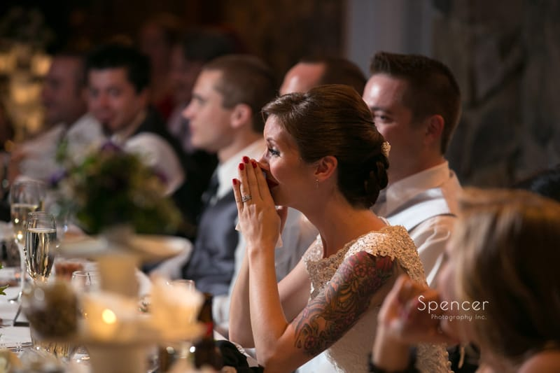 bride initally reacts to dads reception speech
