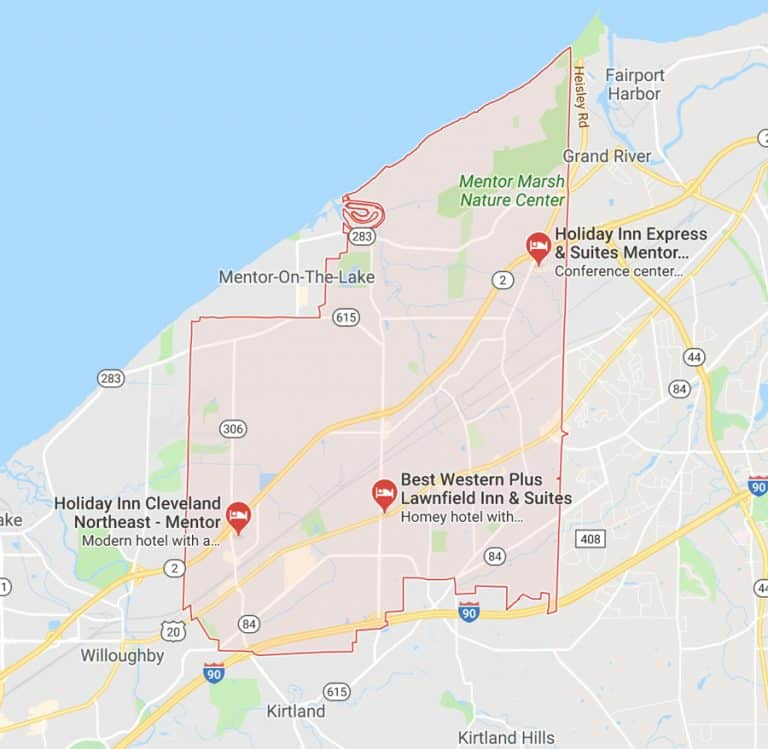 Map of Mentor Ohio