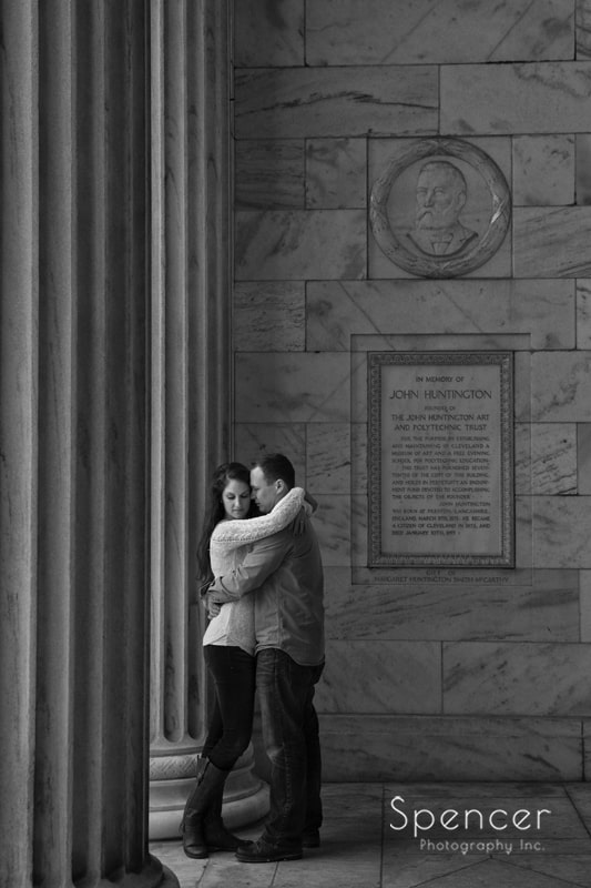 artistic black and white engagement photo at Cleveland Museum of Art