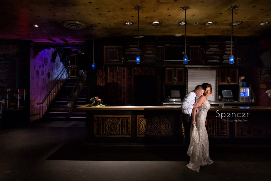 bride and groom hugging in music hall of house of blues cleveland