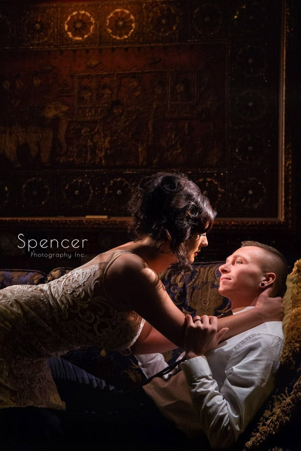 bride and groom kissing at house of blues cleveland