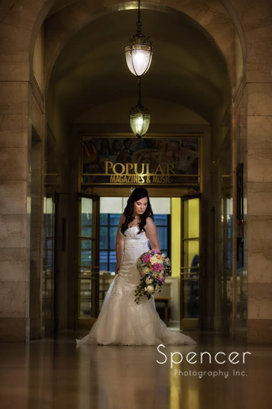 bridal wedding picture at Cleveland Public Library