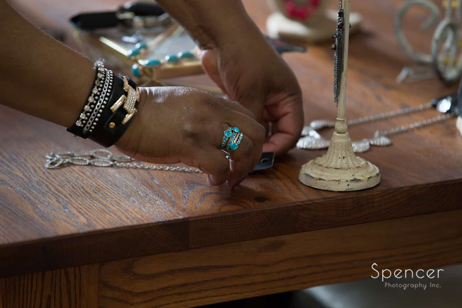 Cleveland blogger setting up jewelry at Borrowed Rental