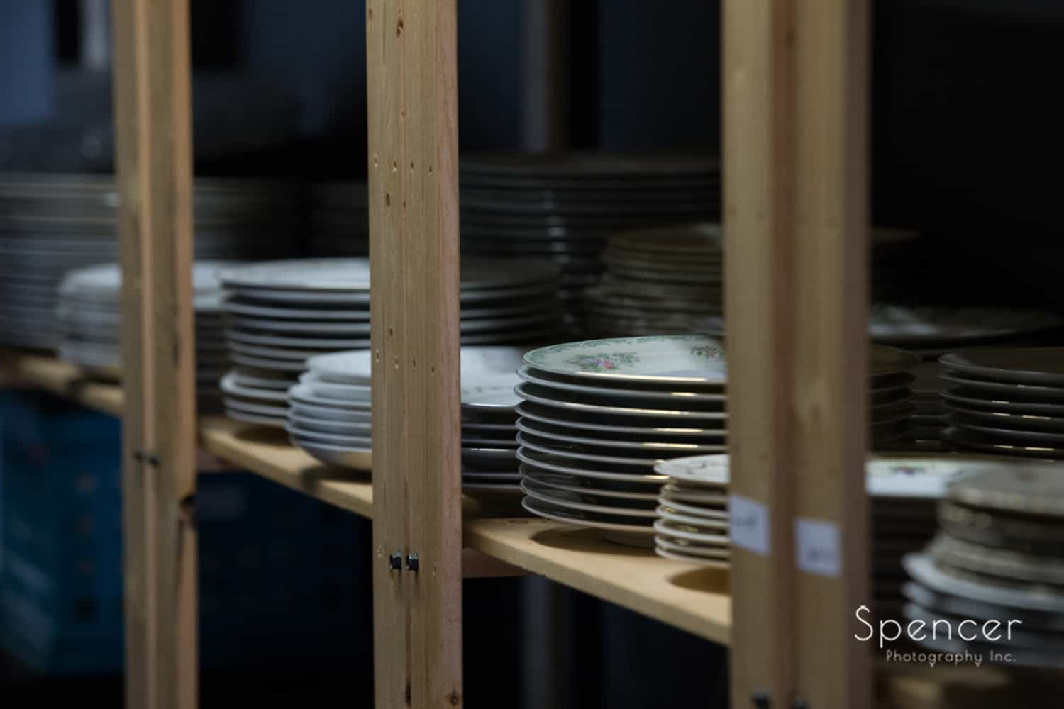plates being storage at Borrowed Rental in Cleveland