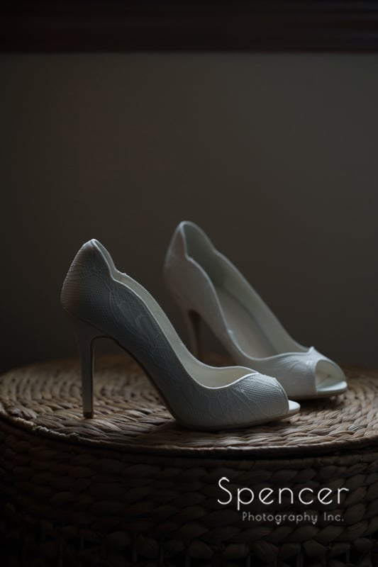 wedding day detail of brides shoes