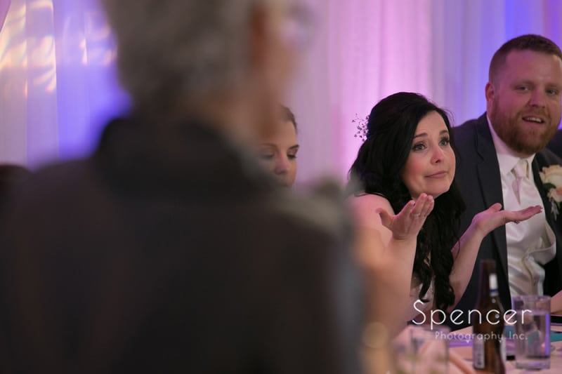 bride reacting to mom's reception speech