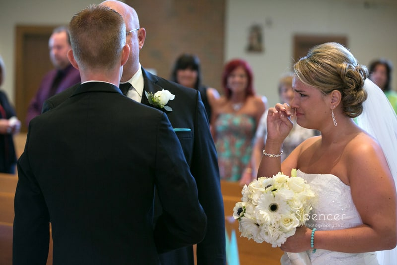 bride crying at her mentor wedding ceremony