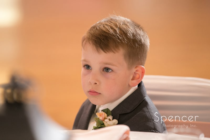 ring bearer at Perry wedding reception
