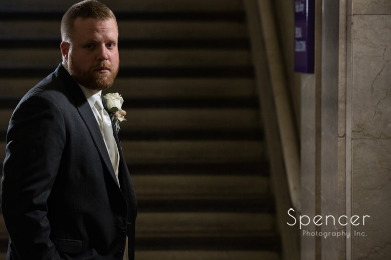 groom wedding picture at Cleveland Public Library