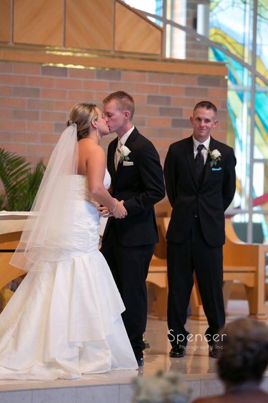 first kiss at Mentor wedding
