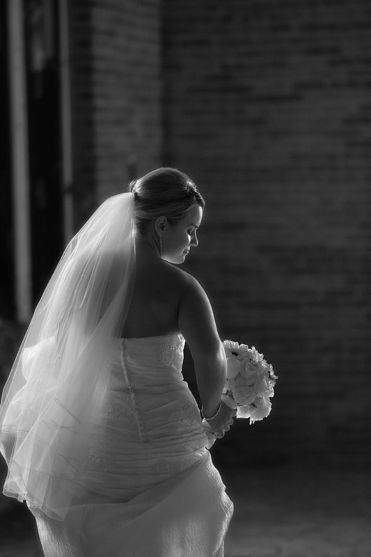 creative black and white picture of bride in Cleveland