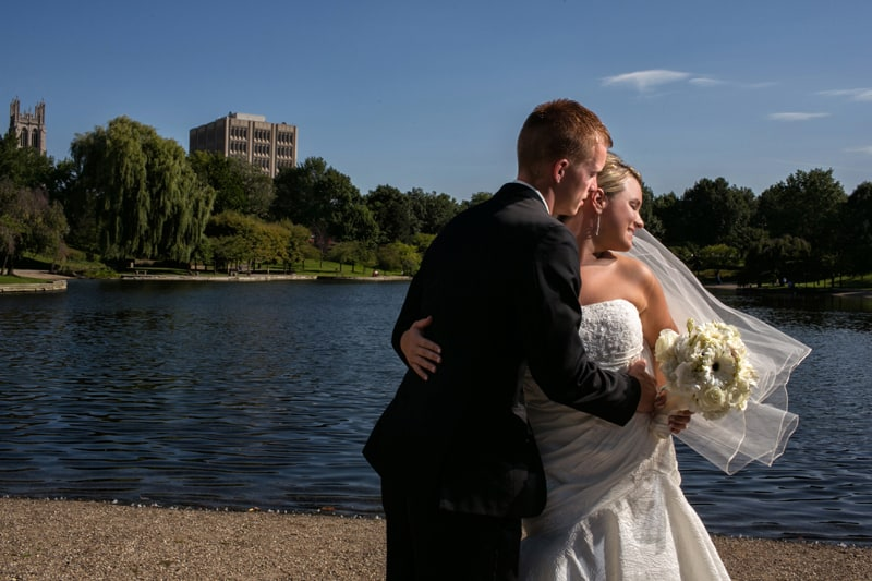 dramatic wedding picture of bride and groom at wade oval