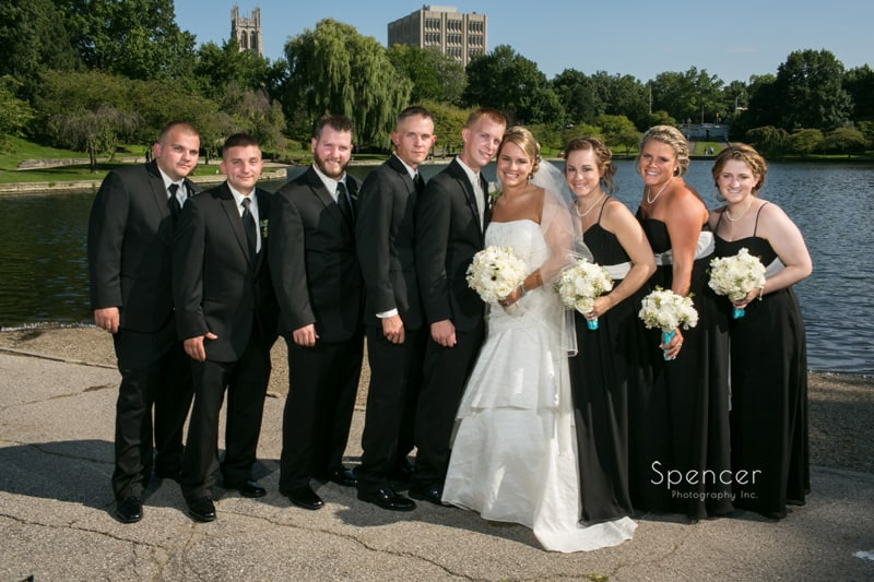 wedding party picture at wade oval park