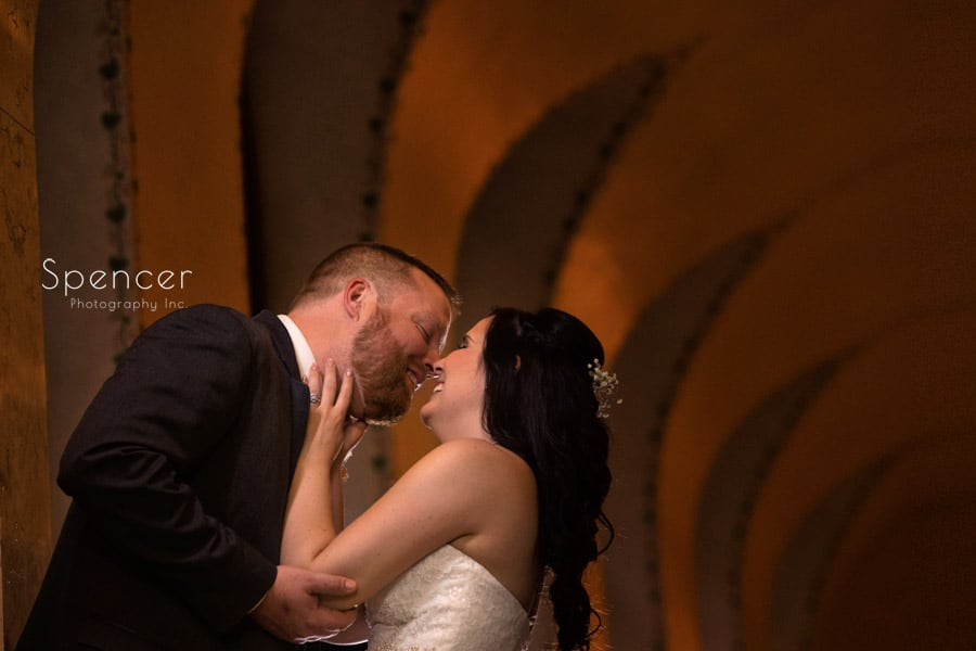 bride and groom kissing at cleveland public library
