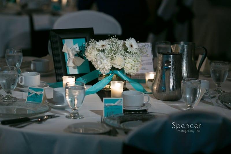 wedding reception detail of centerpiece at LaMalfa