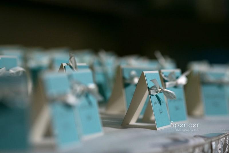 table placards at wedding reception at LaMalfa