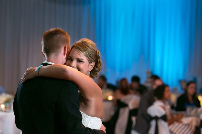 bride smiling during her first dance at reception at LaMalfa