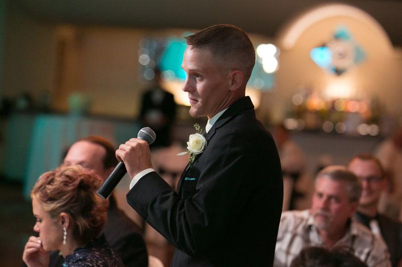 groom give reception speech at LaMalfa