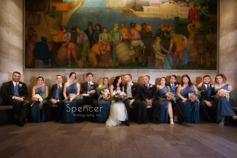 wedding party picture at cleveland public library