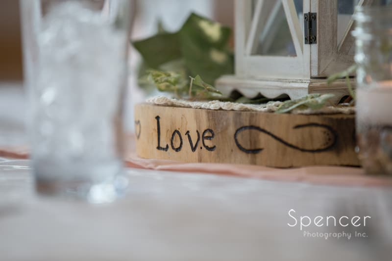 table detail at wedding reception in Perry Ohio