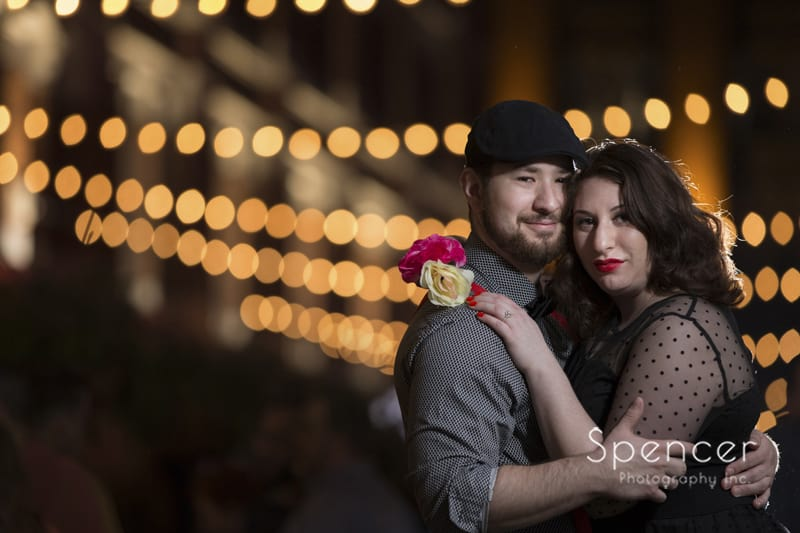 Couple looking into camera on Cleveland East Fourth Street