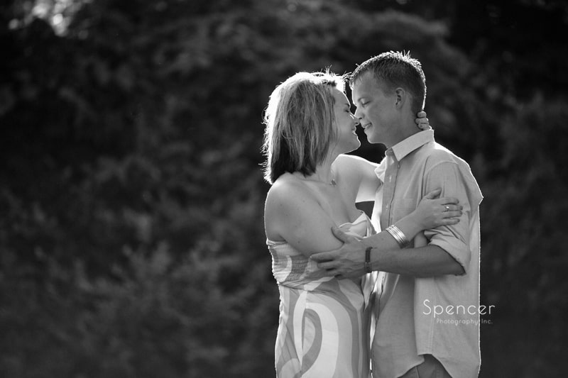 black and white engagement picture at cleveland park