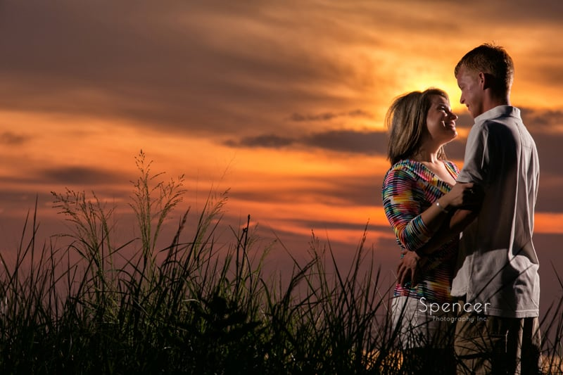 dramatic sunset picture during cleveland engagement session