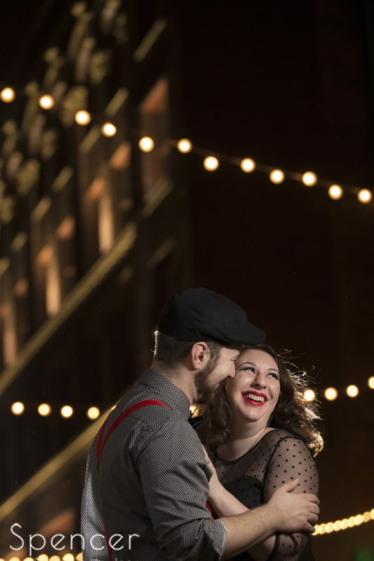 woman laughing during engagment pictures in Cleveland