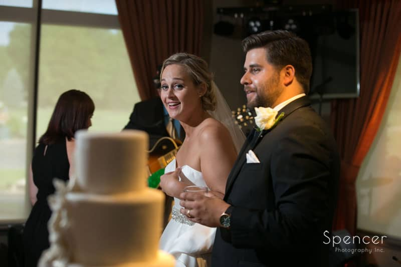bride and groom inspecting their wedding reception at firestone