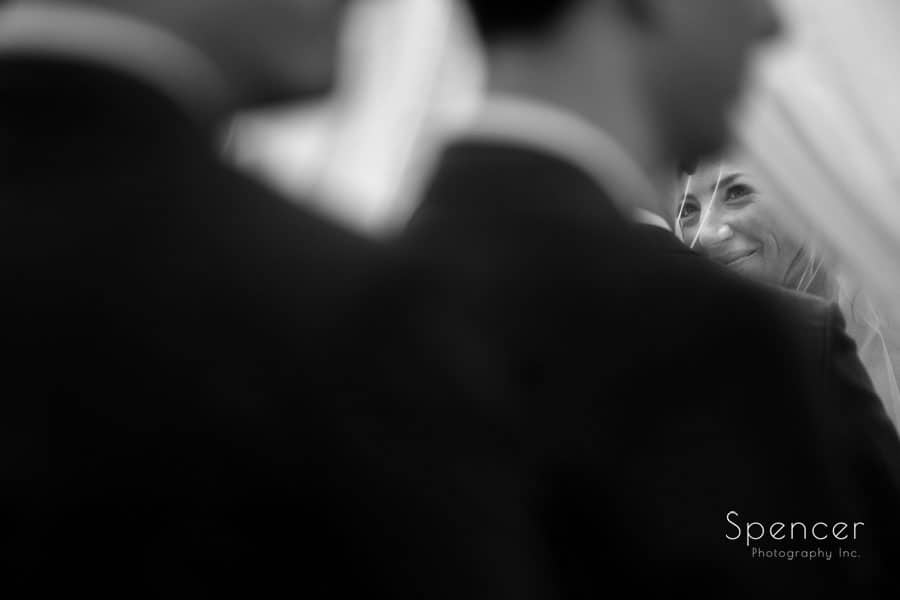 bride at wedding ceremony at revere road synagogue