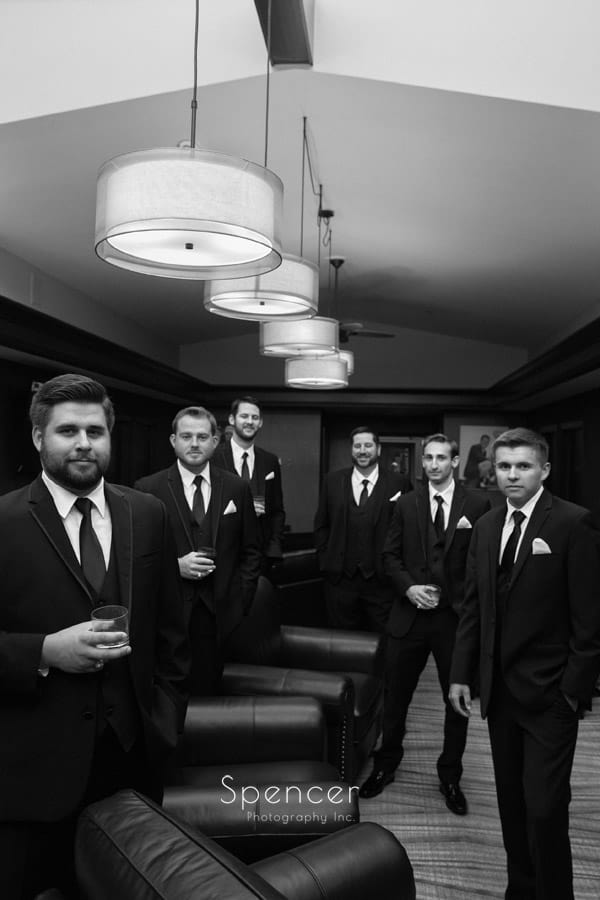 groomsmen in locker room on wedding day at fireston country club