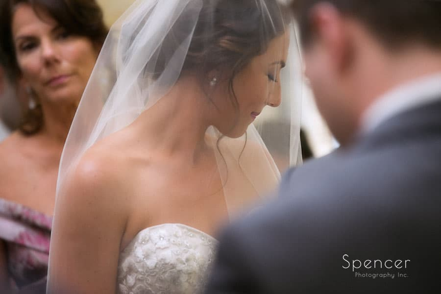 emotional bride at wedding at revere road synagogue