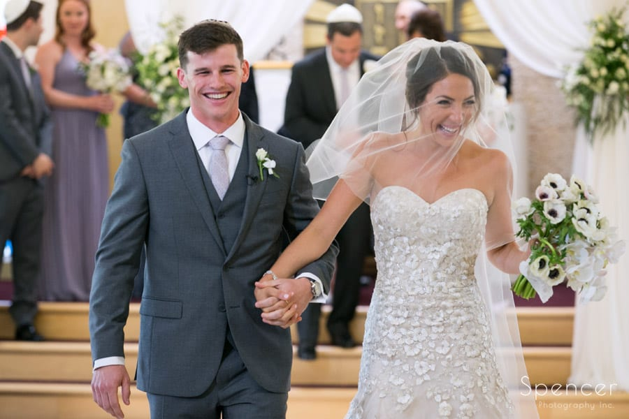 bride and groom married at revere road synagogue