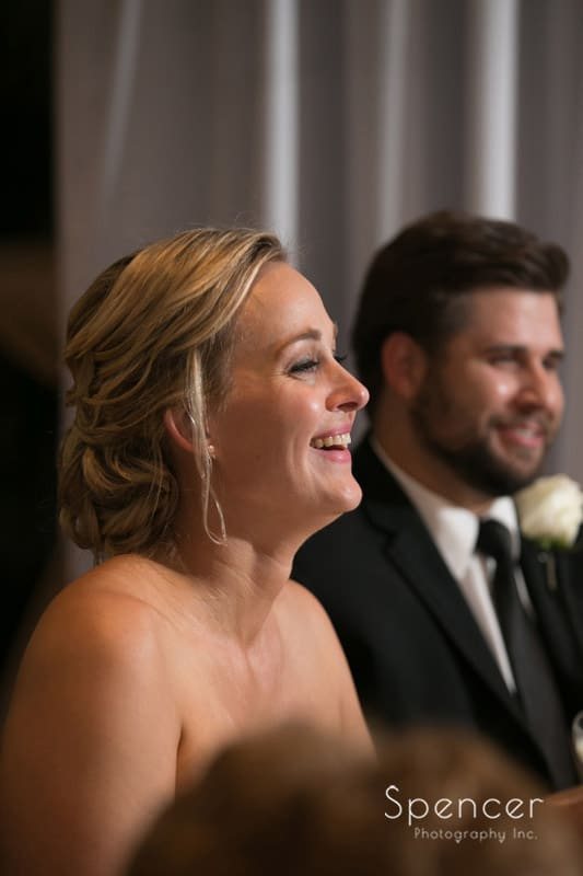 bride reacts to matron of honor speech