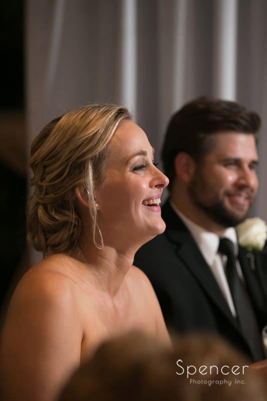 bride reacts to matron of honor speech