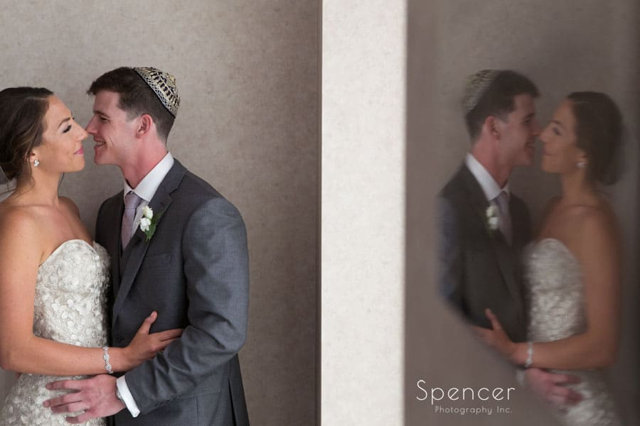 creative wedding picture at revere road synagogue